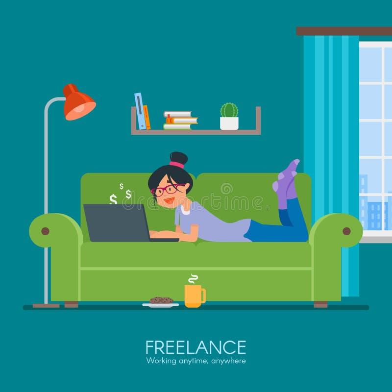 遥远地工作从她的室的女性自由职业者 在平的样式设计的自由职业者的概念传染媒介例证 在网上 向量例证