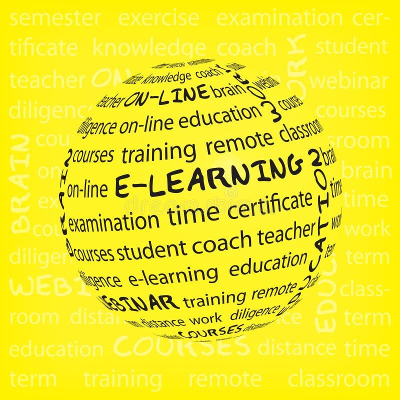 遥远学会的概念 在词标记云彩的遥远的学习的概念在黄色背景 了解银的计算机概念e关键膝上型计算机 向量例证