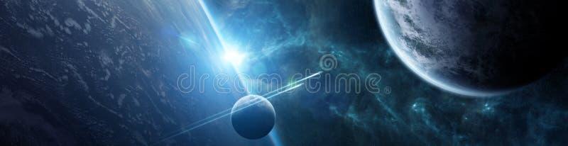 遥远的行星系统全景在空间3D翻译元素的 库存例证