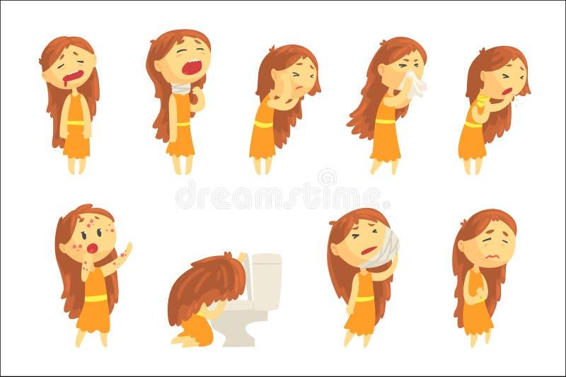 遭受与疾病的症状的痛苦的动画片不快乐的妇女在各种各样的姿势,套五颜六色的详细的传染媒介 库存例证