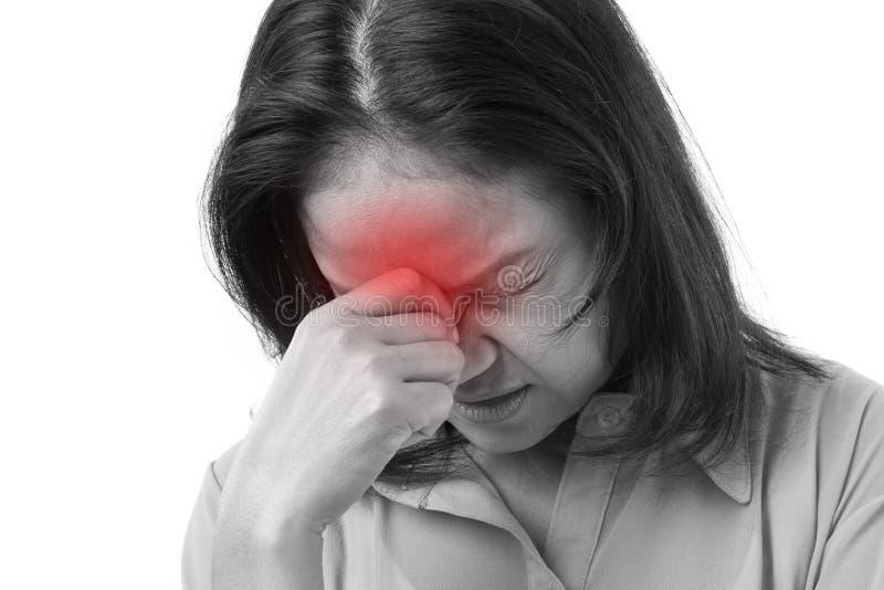 遭受头疼或重音的沮丧的妇女 免版税库存图片
