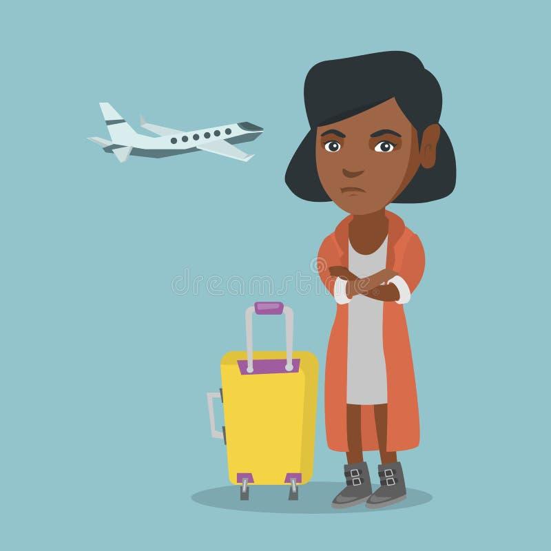 遭受对飞行的恐惧的非洲妇女 皇族释放例证
