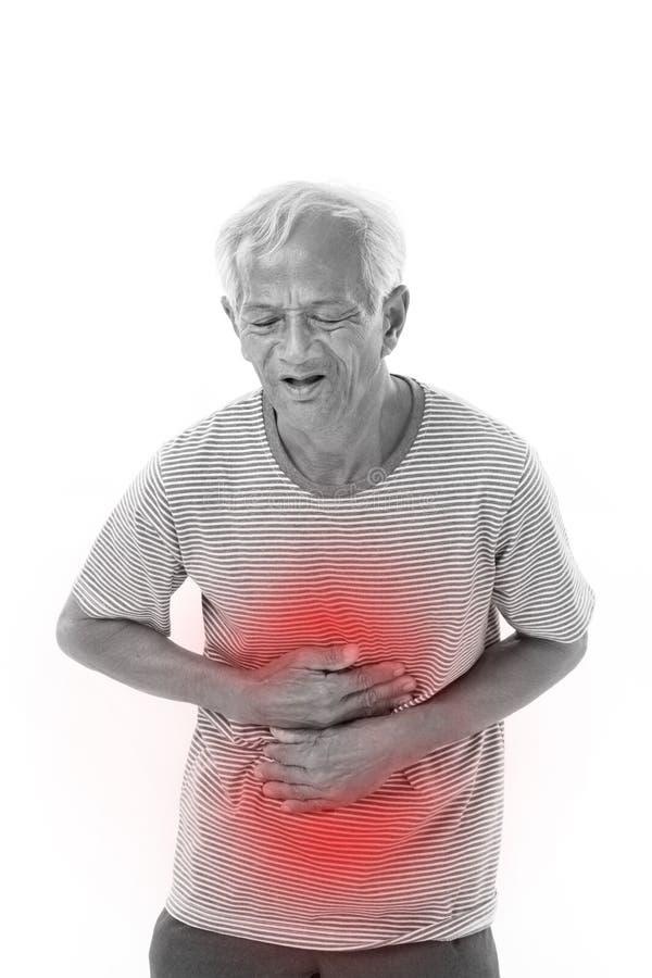 遭受腹泻,消化不良的问题的病的老人 免版税图库摄影