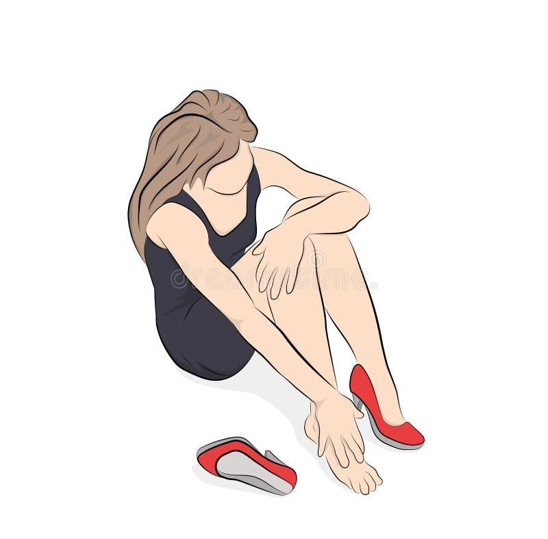 遭受腿痛的少妇由于难受的鞋子,高跟鞋 也corel凹道例证向量 库存例证
