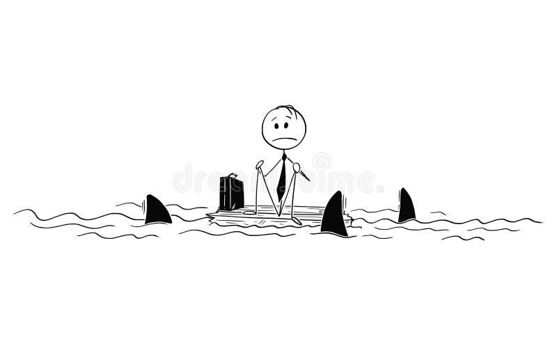 遭难的商人动画片单独坐木头在海洋中间 向量例证