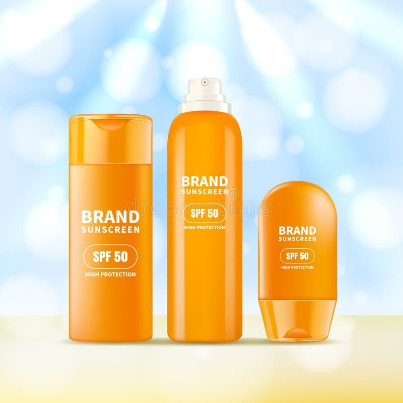 遮光剂化妆大模型设计模板 导航太阳保护奶油,化妆水,浪花的现实3d例证 皇族释放例证