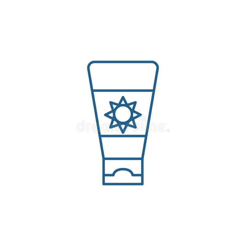 遮光剂奶油色线象概念 遮光剂奶油色平的传染媒介标志,标志,概述例证 向量例证