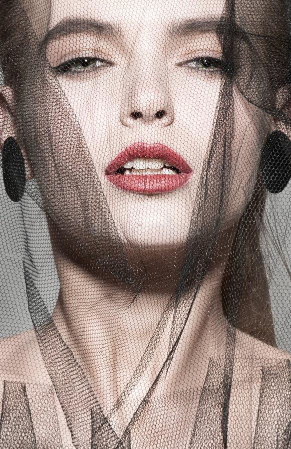 遮掩时尚妇女艺术时髦照片红色嘴唇 库存图片