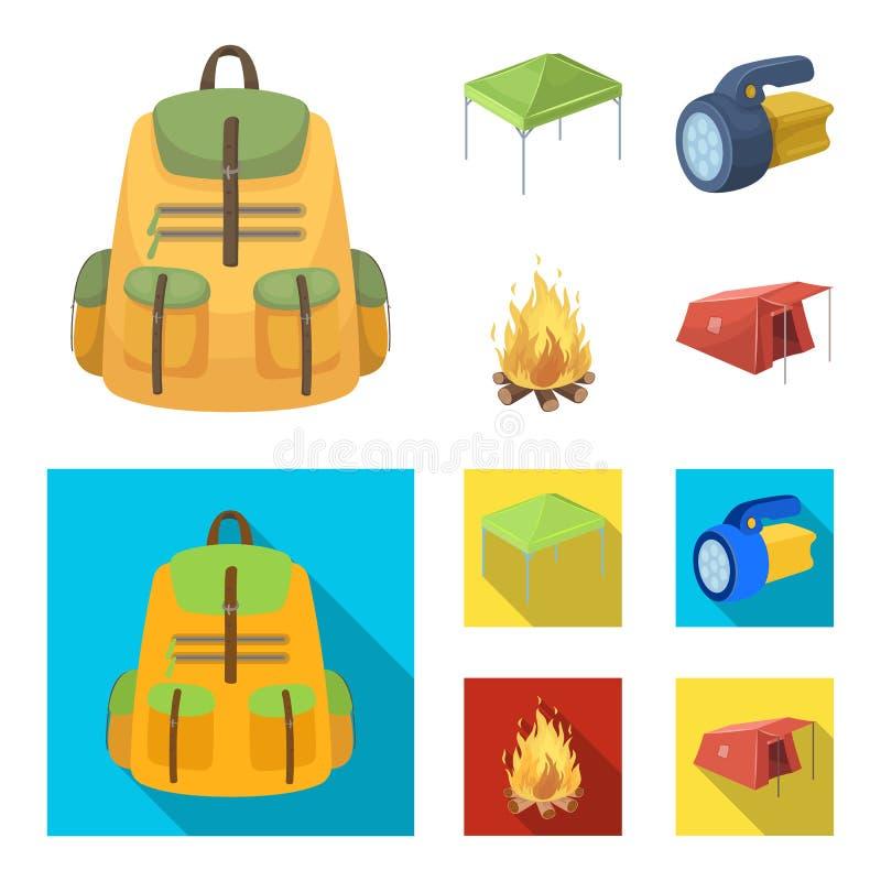 遮篷、火和其他旅游设备 在动画片,平的样式传染媒介标志股票的帐篷集合汇集象 库存例证