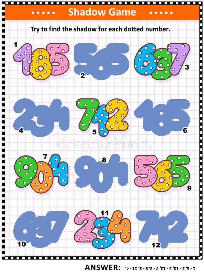 遮蔽与被加点的数字的相配的比赛孩子的 向量例证
