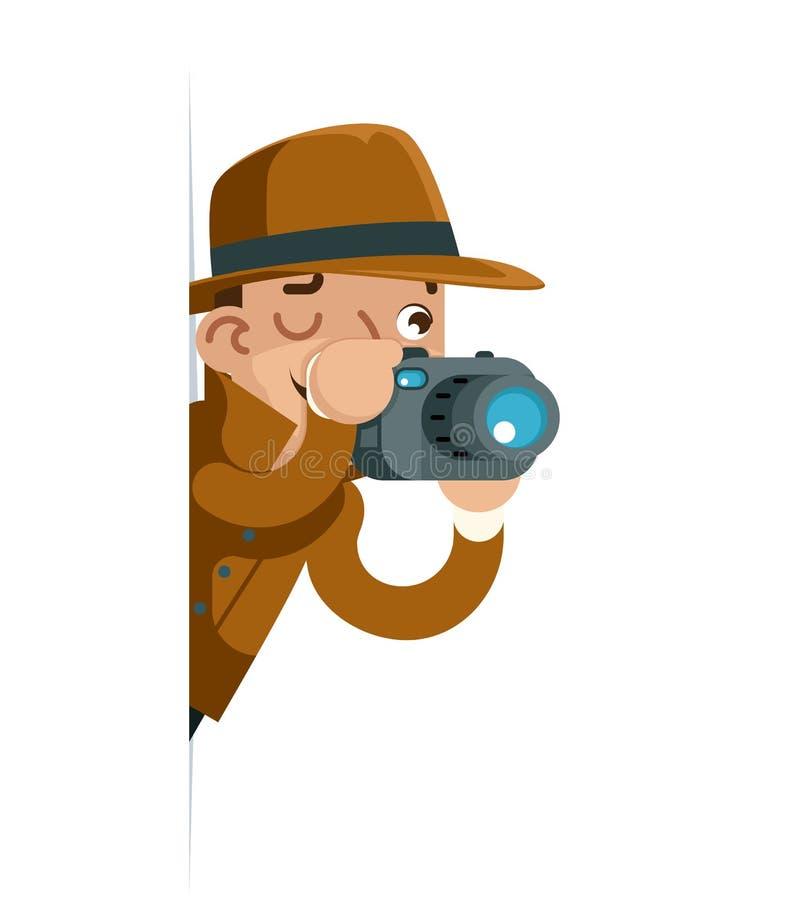 遮蔽侦探照相机神色角落动画片平的设计传染媒介例证的调查观察 向量例证