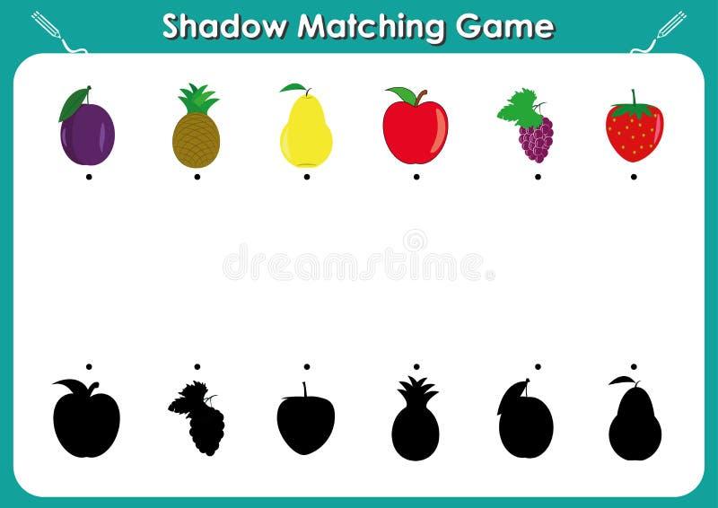 遮蔽相配的比赛,孩子的活动页 发现孩子的幼儿园正确,正确阴影任务,果子和阴影 向量例证
