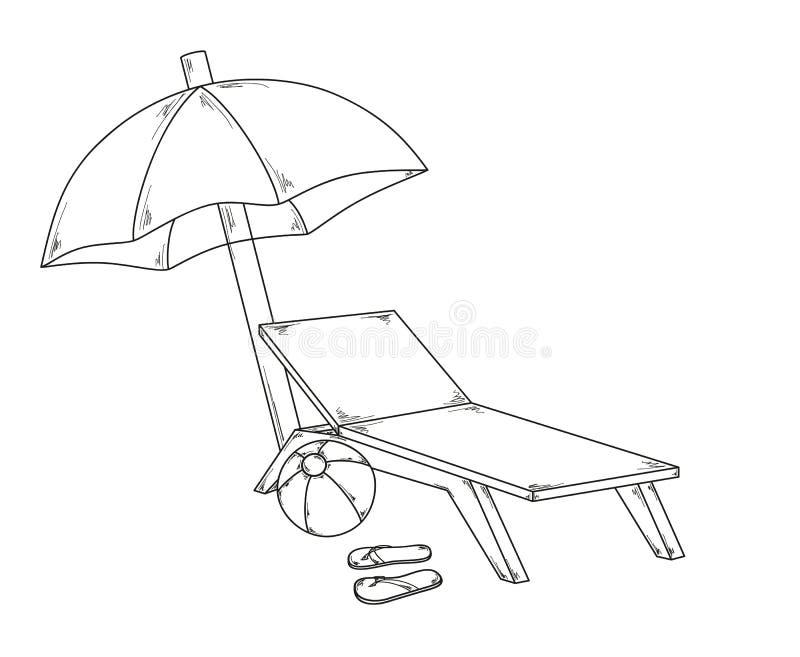 遮阳伞拍击声、球和椅子 库存例证
