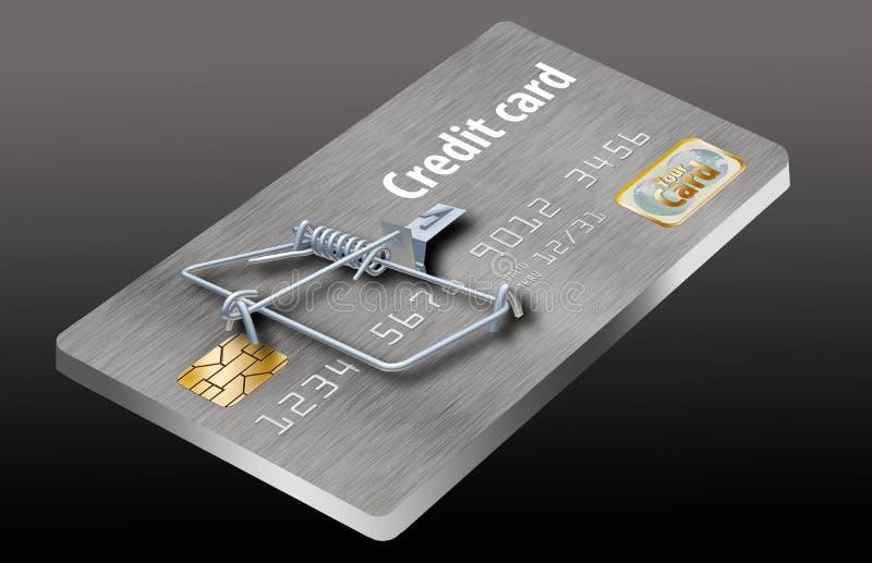 避免信用卡陷井,象看起来象信用卡把变成捕鼠器的这一个 向量例证
