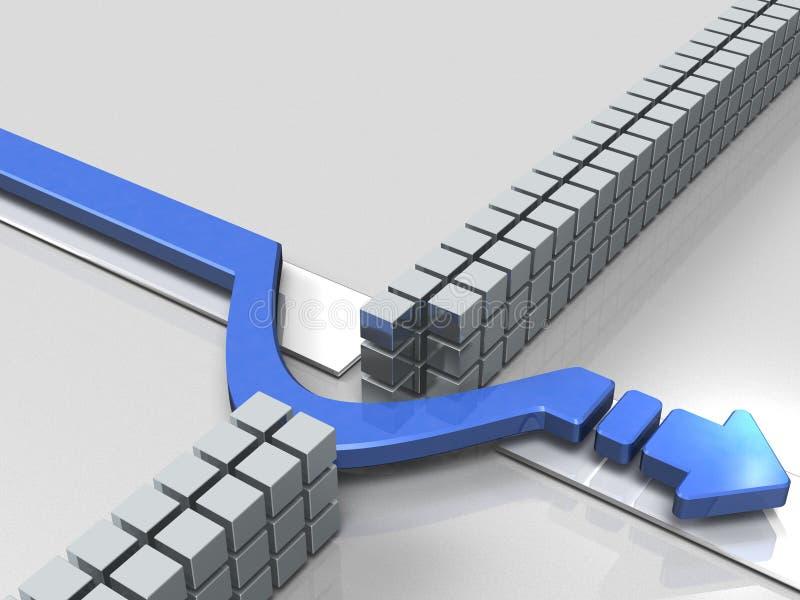 避免在路线的障碍的箭头 向量例证