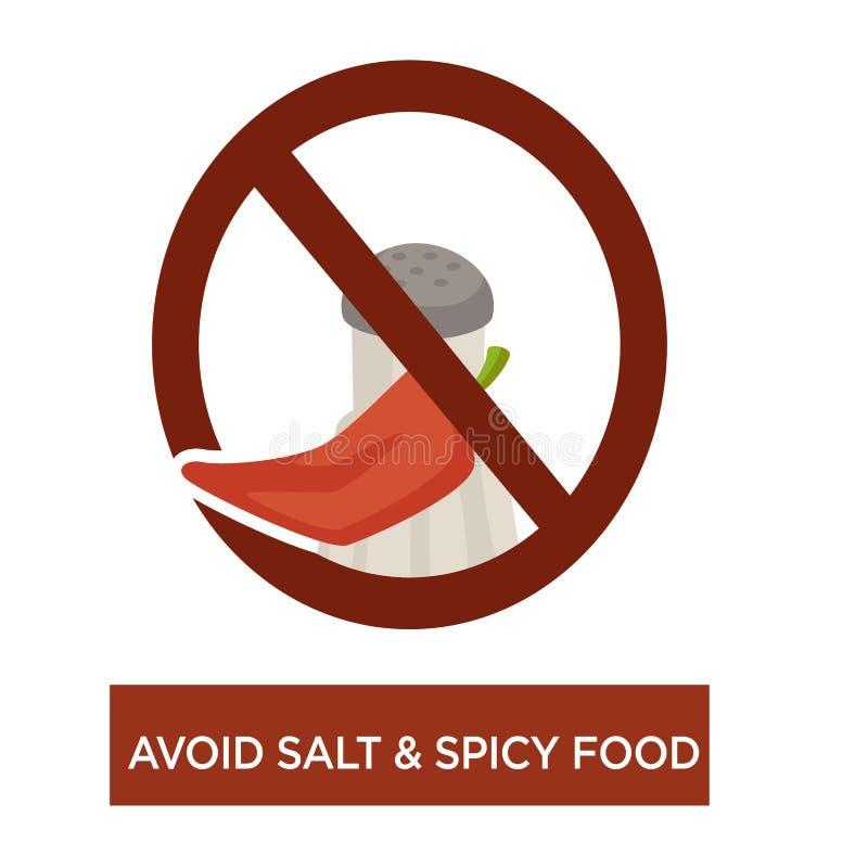 避免盐和刺激性食物疾病预防饮食 库存例证