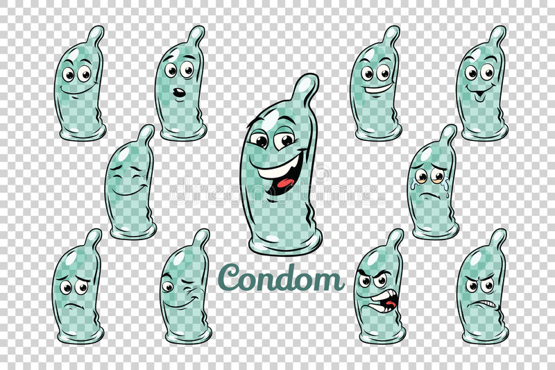 避孕套情感字符汇集集合 皇族释放例证