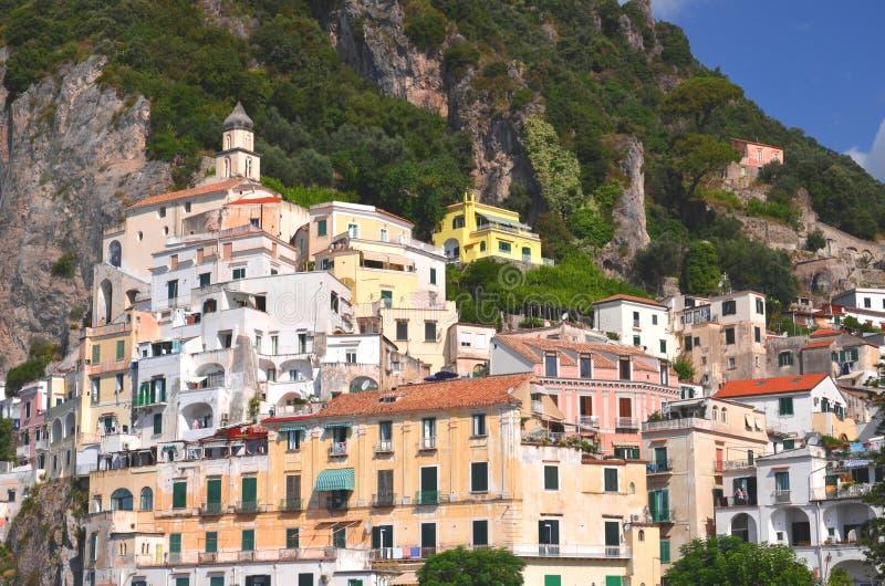 避暑胜地阿马飞,意大利美丽如画的看法  免版税库存图片