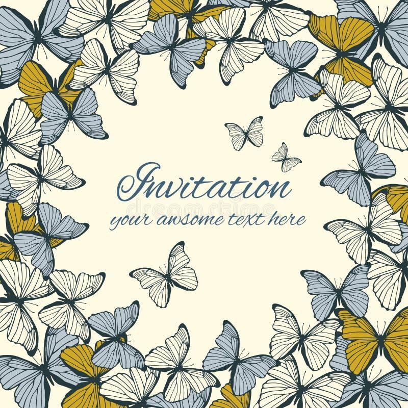 邀请与蝴蝶装饰品的卡片模板 向量例证