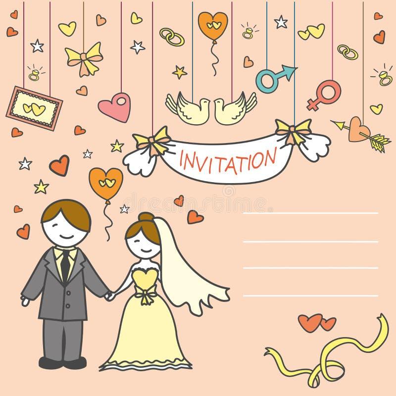 邀请卡片、新娘和新郎 库存例证