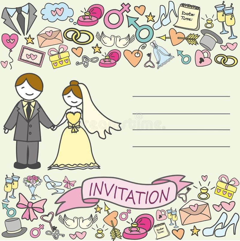 邀请卡片、新娘和新郎 向量例证