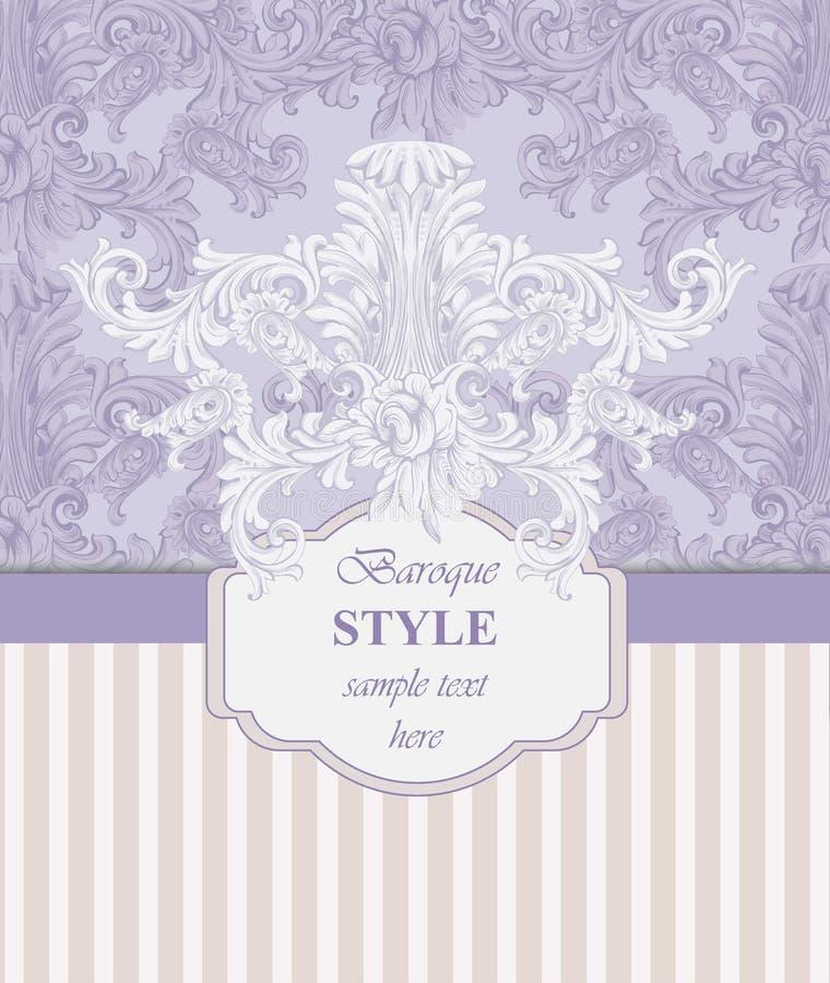 邀请卡片传染媒介 皇家维多利亚女王时代的样式装饰品 巴洛克式的背景 报春花桃红色和淡紫色颜色 库存例证