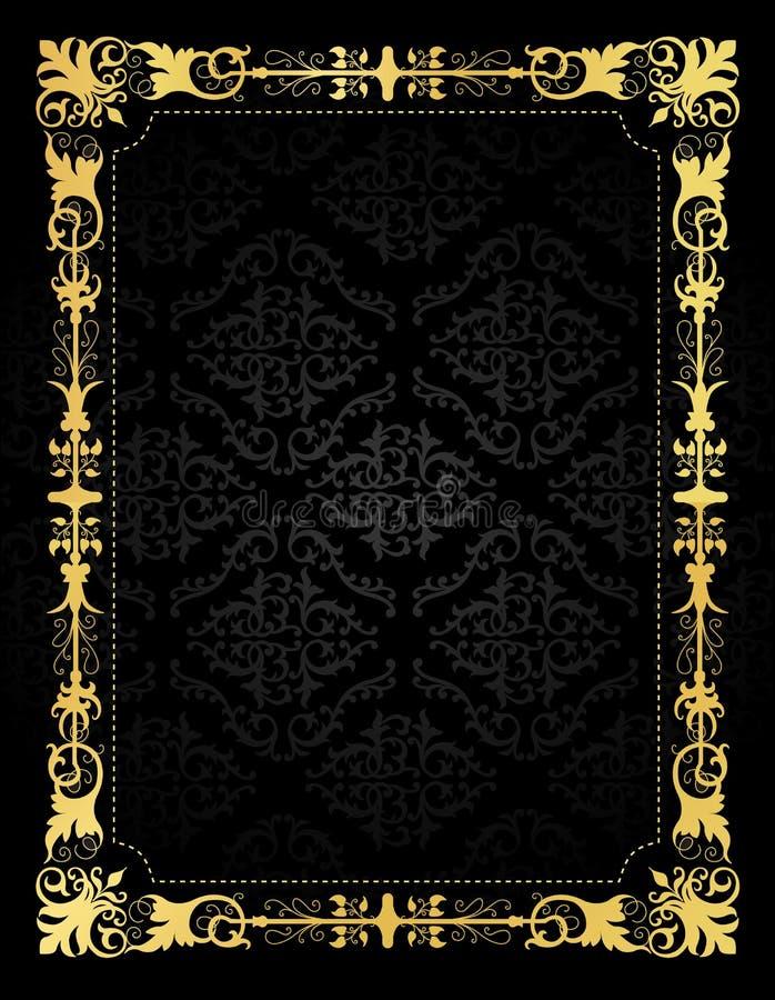 邀请卡片装饰框架和锦缎背景 库存例证