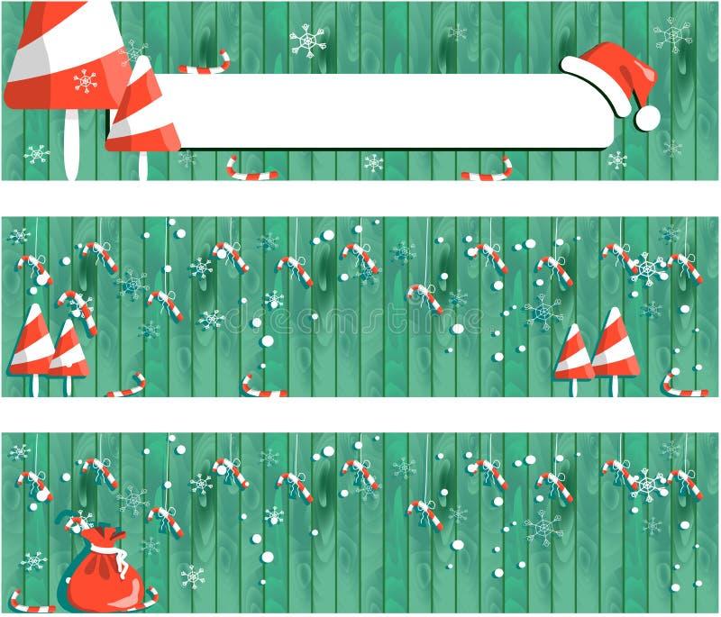 邀请圣诞快乐横幅和卡片设计模板 库存例证