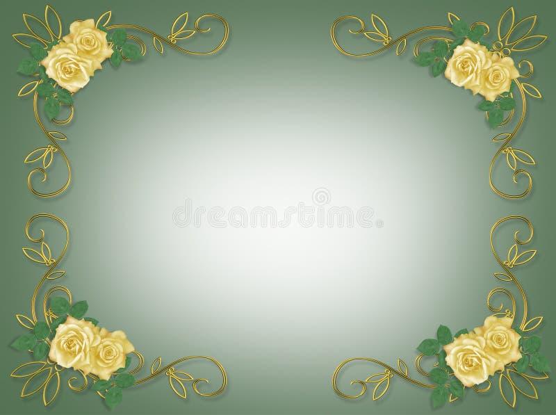 邀请婚姻黄色的当事人玫瑰 库存例证