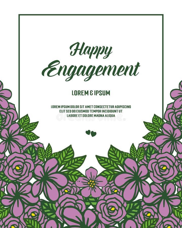 邀请愉快的订婚的传染媒介例证美丽的开花叶子花卉框架 库存例证