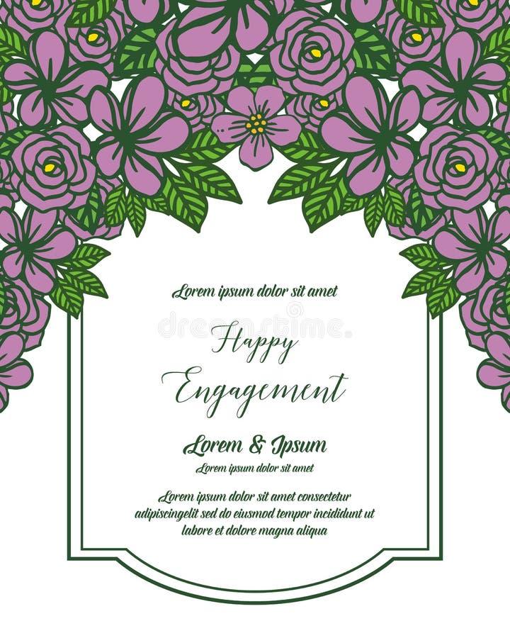 邀请愉快的订婚的传染媒介例证美丽的开花叶子花卉框架 皇族释放例证