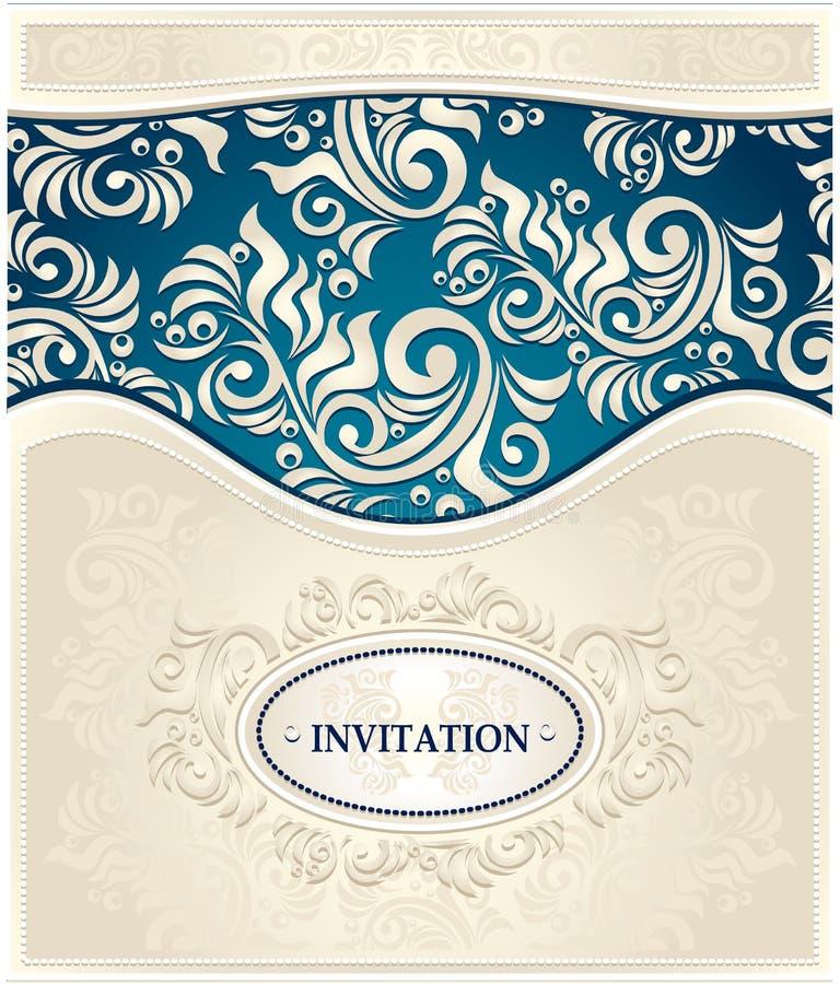 邀请或框架在深蓝和米黄颜色 向量例证