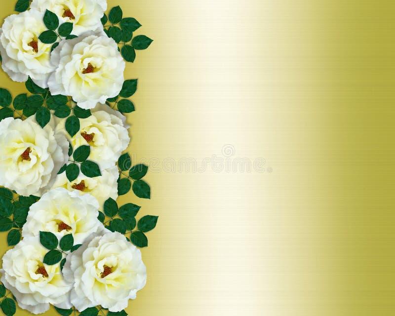 邀请玫瑰缎婚姻的空白黄色 向量例证