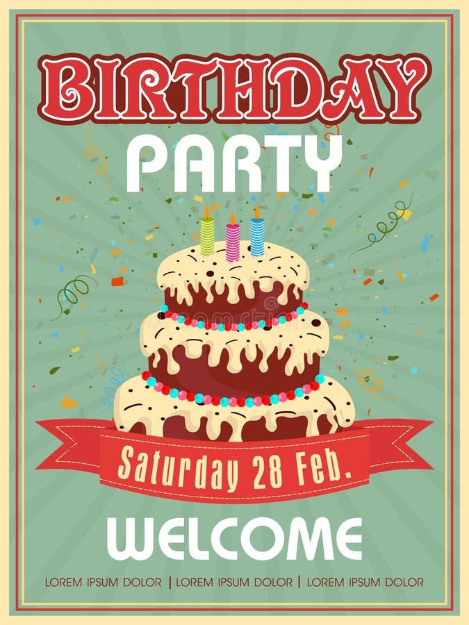 邀请生日聚会的卡片设计 库存例证