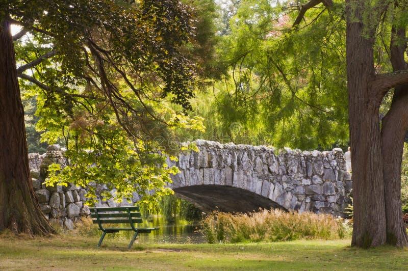 邀请的位子在由石桥梁的树荫下 免版税库存图片