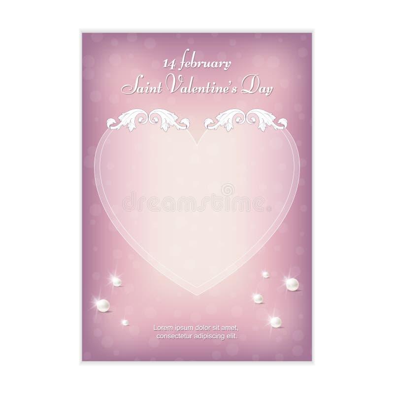 邀请的精美桃红色垂直的明信片对华伦泰2月14日的` s天 在葡萄酒样式的装饰品 库存例证
