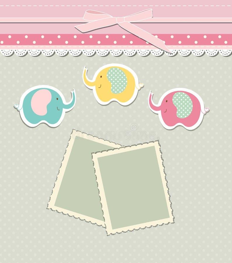 邀请的,问候,婴儿送礼会卡片,生日快乐标签,明信片框架浪漫小块售票模板或 库存例证