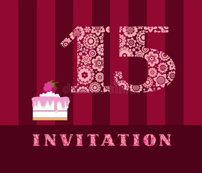 邀请, 15年,蛋糕,颜色,传染媒介 向量例证