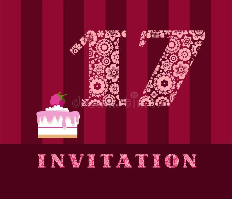 邀请, 17年,蛋糕,颜色,传染媒介 向量例证