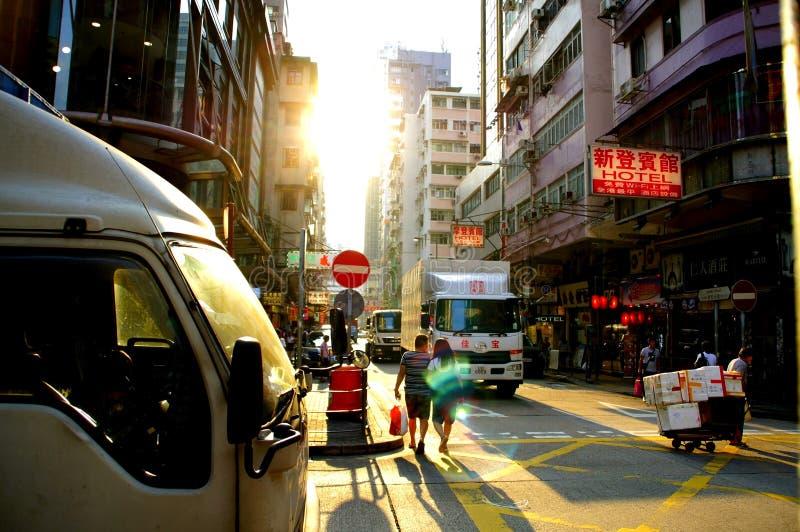 邓达斯街在九龙,香港看见油麻地 库存照片