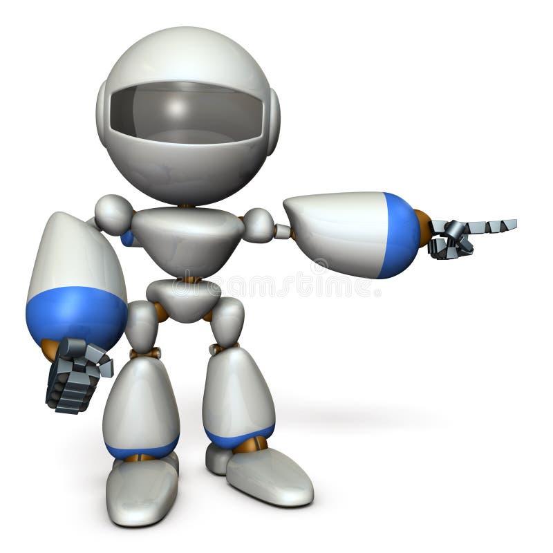 那一个逗人喜爱的机器人指向右边 它显示方向是 皇族释放例证