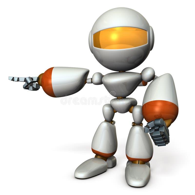 那一个逗人喜爱的机器人指向左边 它显示方向是 皇族释放例证