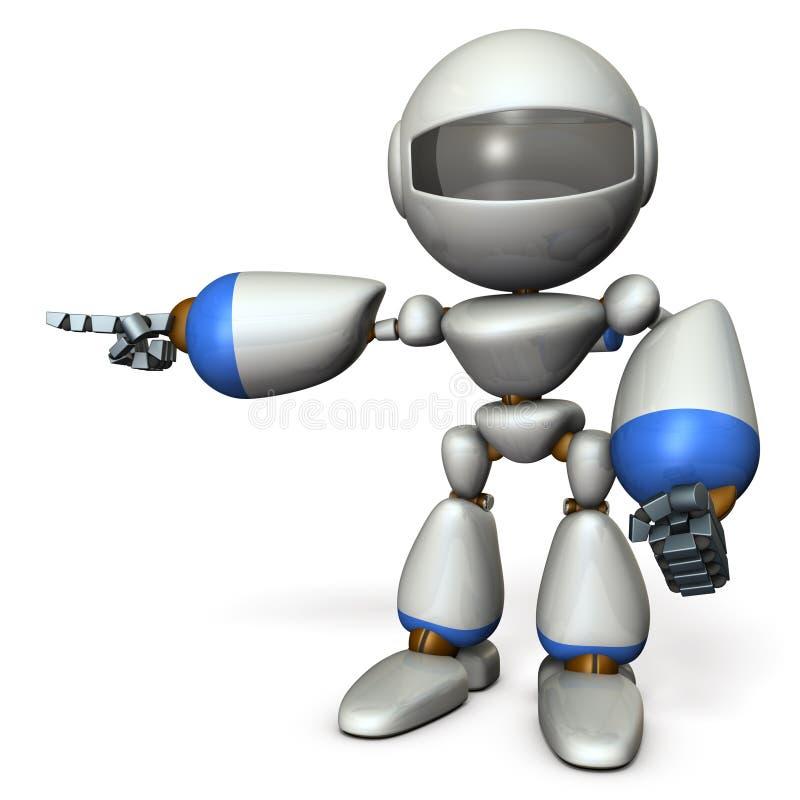 那一个逗人喜爱的机器人指向左边 它显示方向是 库存例证