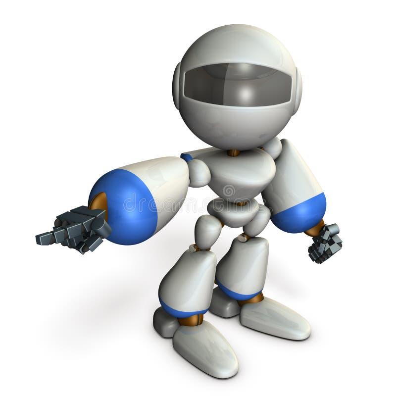 那一个逗人喜爱的机器人指向左边 它显示方向是 向量例证