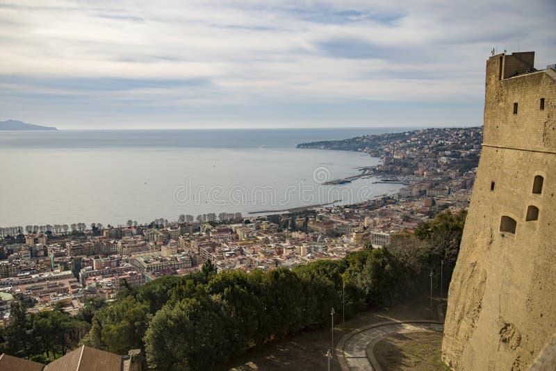 那不勒斯看法从城堡桑特艾蒙的 图库摄影