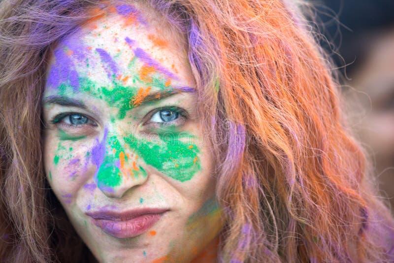 那不勒斯,意大利, 2015年9月12日:颜色Holi节日  同水准 免版税库存照片