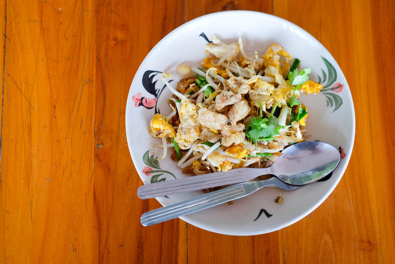 那个泰国` s全国主菜PAT-THAI 素食主义者 库存照片
