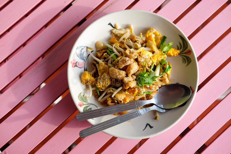 那个泰国` s全国主菜PAT-THAI 素食主义者 免版税库存照片