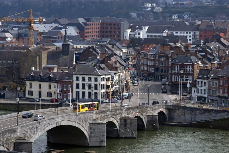 那慕尔城市视图有河的默兹,比利时 免版税库存照片