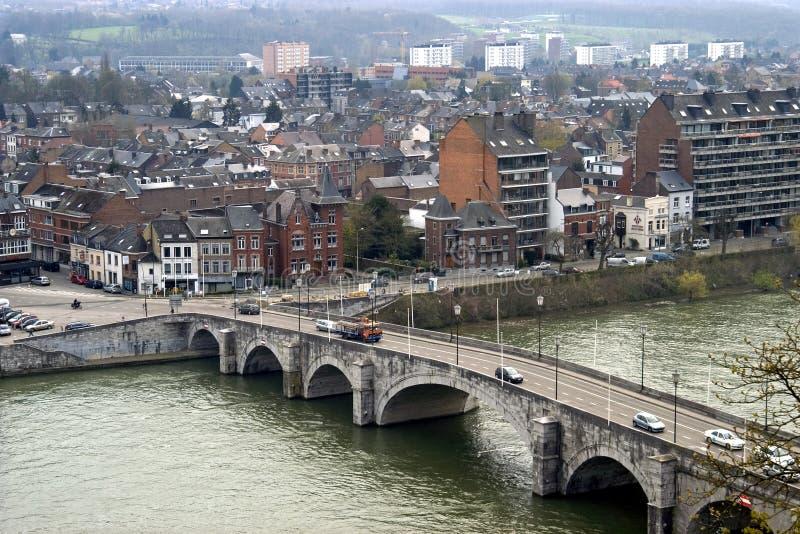 那慕尔城市视图有河的默兹,比利时 免版税库存图片